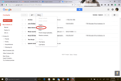 Backup Gmail Google contacts export to storage