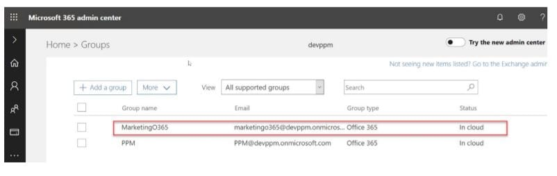 Restored Office 365 group