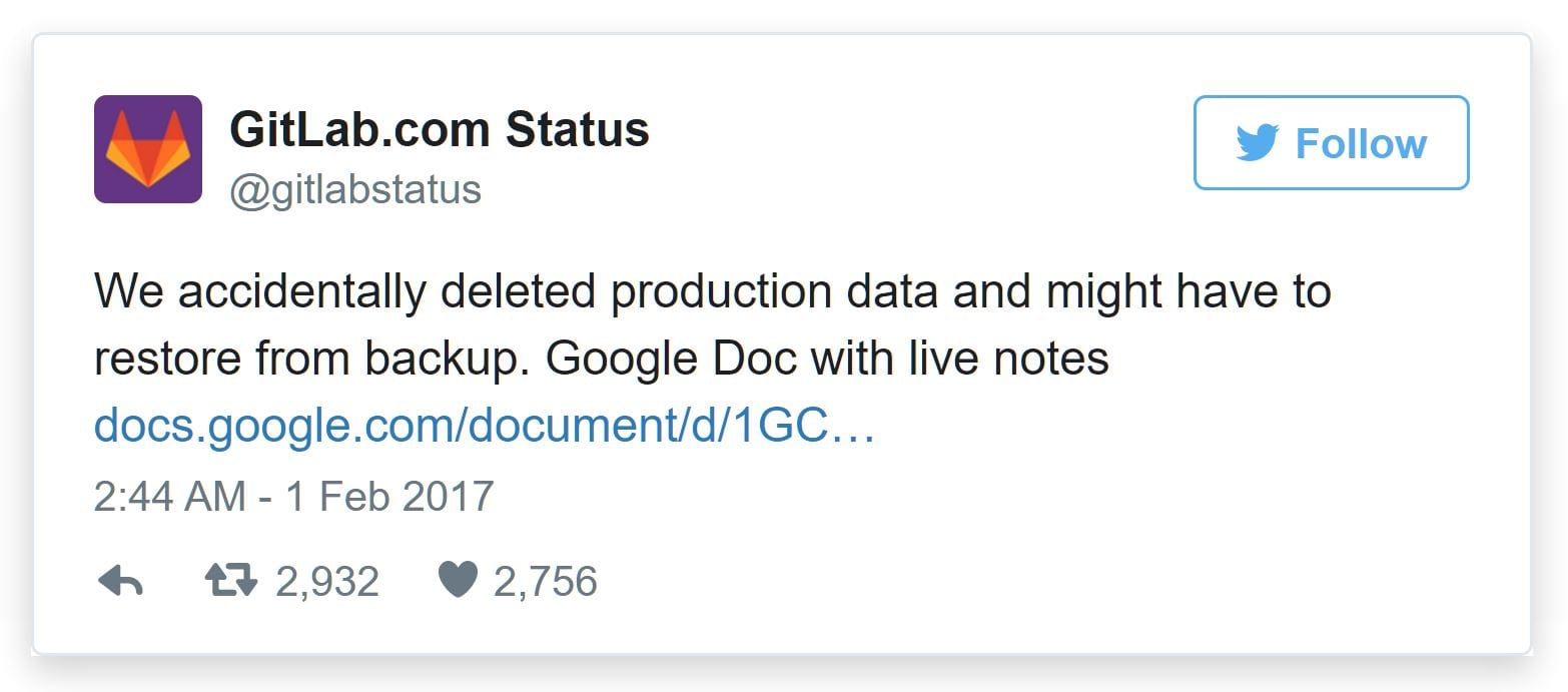 GitLab Lost Data