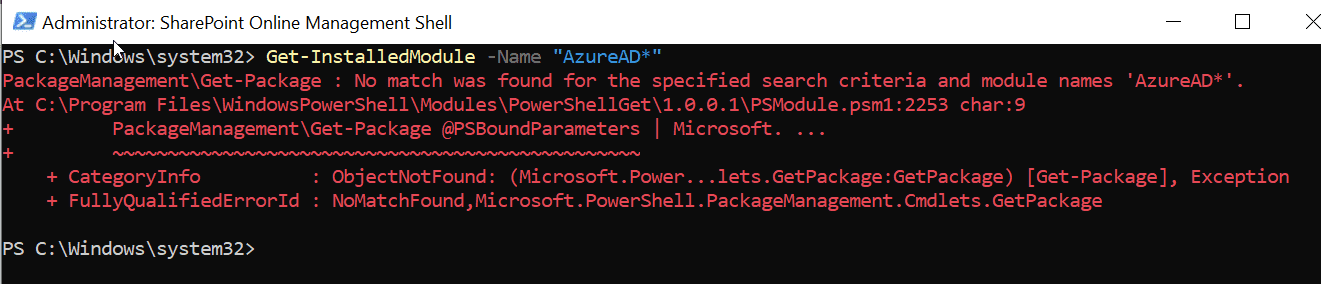 If you have not installed the Azure PowerShell then you will get this message