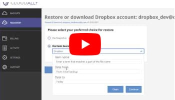 Dropbox Point-in-time Dropbox Restore