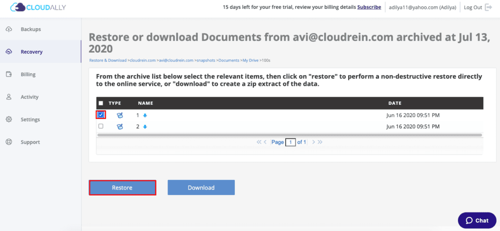 Recover Google Drive / Team Drive files with CloudAlly: From any granular level