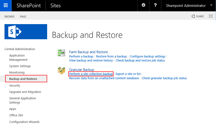 backup and restore sharepoint sites - central administration